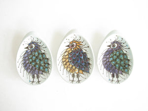 edgebrookhouse - Vintage 1960s Royal Copenhagen Tenera Crazy Bird Pin Dishes by Beth Breyen - Set of 3
