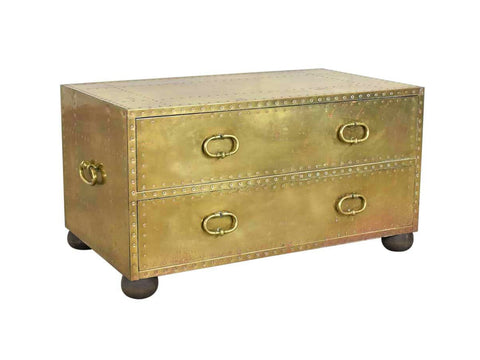 edgebrookhouse - Vintage 1960s Sarreid Spain Brass and Copper Trunk or Low Chest of Drawers