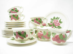 edgebrookhouse - Vintage 1970s Atlantic Mold Hand-Painted Ceramic Tea Set with Rasberry Majolica Style Design - 20 Pieces