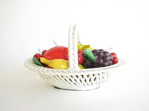 edgebrookhouse - Vintage 1970s Bassano Italy Ceramic Hand-Painted Fruit Basket
