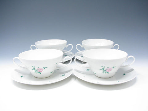 edgebrookhouse - Vintage 1980s Rosenthal Romance Rose Bouillon Cups & Saucers - Set of 4
