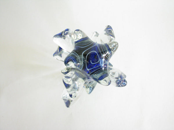 edgebrookhouse - Vintage Abstract Blue Studio Art Glass Sculpture Signed by Artist Daniel Edler