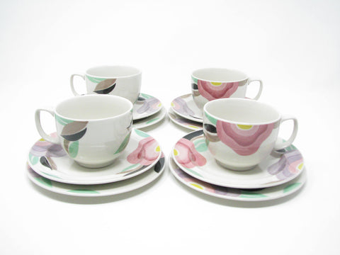 edgebrookhouse - Vintage Adams China Florida Cups & Saucers & Small Plates with Floral Design - 12 Pieces