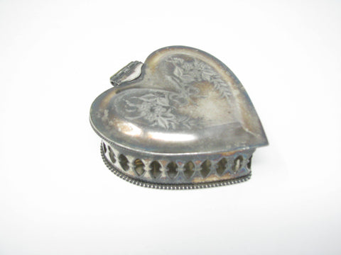edgebrookhouse - Vintage Anchor Silverplate Reticulated Hinged Heart Shaped Trinket Box with Floral Design