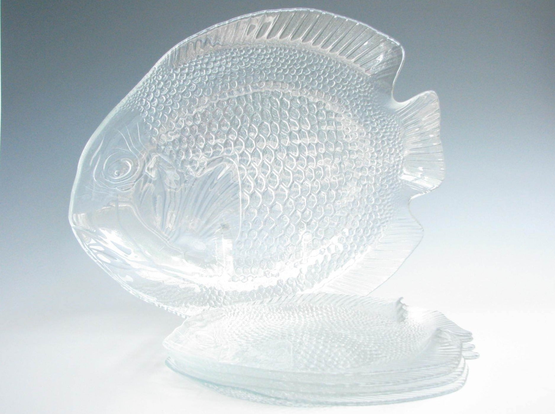 edgebrookhouse - Vintage Arcoroc France Poisson Fish Shaped Glass Platter and Plate Set - 5 Pieces