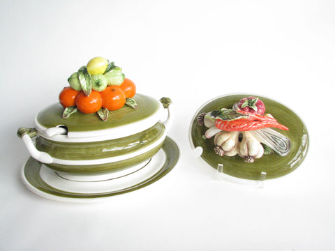 edgebrookhouse - Vintage Arnart 5th Avenue Vegetable and Citrus Fruit Ceramic Soup Tureen and Ladle - Includes 2 Lids