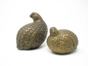 edgebrookhouse - Vintage Arnel's Ceramic Quails Partridges in Golden Brown - Set of 2