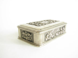 edgebrookhouse - Vintage Art Deco Lidded Silver Polished Metal Trinket Box with Velvet Lining
