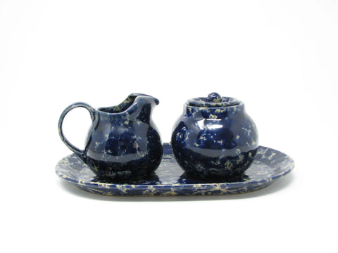 edgebrookhouse - Vintage Bennington Pottery Blue Agate Creamer, Lidded Sugar Bowl and Oval Tray - 3 Pieces