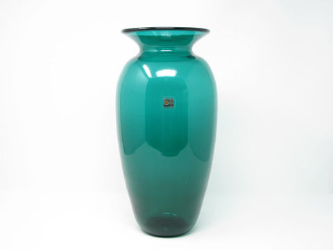 Vintage Blenko Large Emerald Green Glass Vase 9120