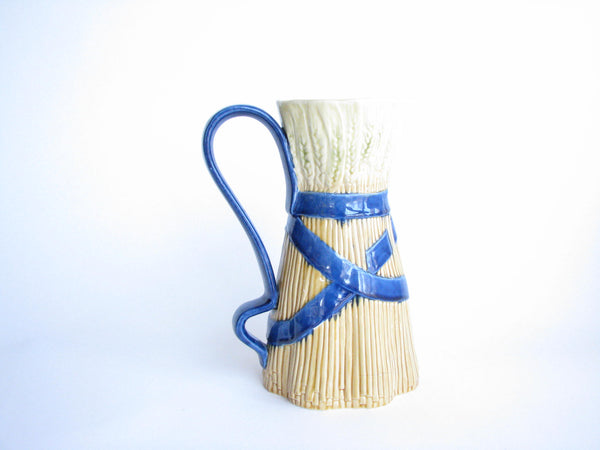 edgebrookhouse - Vintage Bordallo Pinheiro Majolica Ceramic Wheat Pitcher