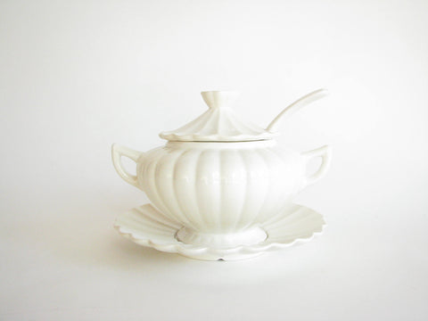 edgebrookhouse - Vintage California Pottery White Tureen with Fluted Underplate and Ladle