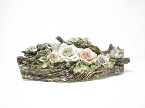 edgebrookhouse - Vintage Capodimonte Style Large Porcelain Log Branch with Flowers Centerpiece