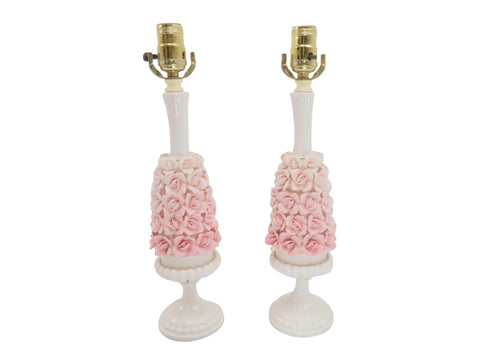 edgebrookhouse - Vintage Capodimonte Style Porcelain Flower Cluster Table Lamps With Carrera Marble Base - a Pair