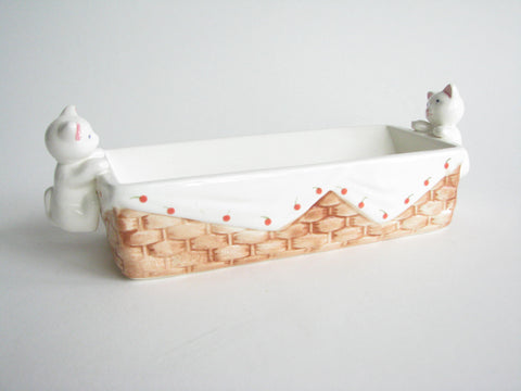 edgebrookhouse - Vintage Ceramic Cat Kitten Basket Cracker or Butter Holder