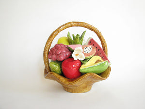 edgebrookhouse - Vintage Ceramic Mixed Tropical Fruit Basket Centerpiece