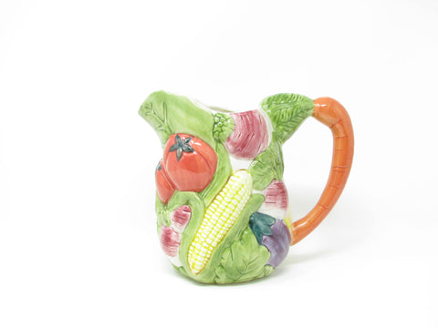 Vintage Ceramica de Cuernavaca Mexico Pitcher with Embossed Vegetables