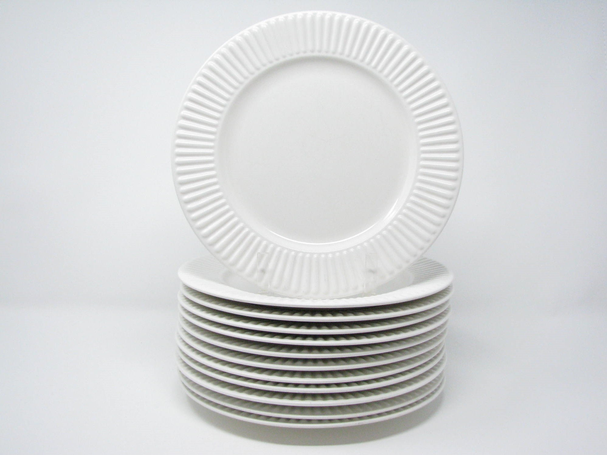 edgebrookhouse - Vintage Dansk Rondure White Fluted Stoneware Plates - Set of 12