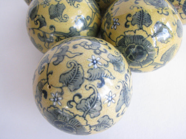 edgebrookhouse - Vintage Decorative Ceramic Balls with Blue Gold Floral Motif - Set of 6