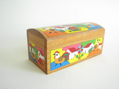 edgebrookhouse - Vintage Decorative Hand-Painted Box Featuring Farm and Chickens