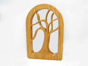 Vintage Don Brookens Hand Carved Wood Tree Frame with Mirror