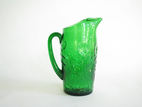 edgebrookhouse - Vintage Emerald Green Glass Juice or Martini Pitcher with Textured Design