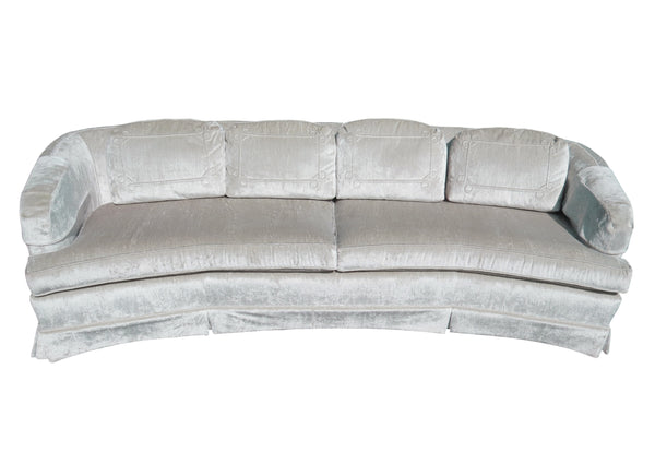 "edgebrookhouse - Vintage Ethan Allen ""Traditional Classics"" Art Deco Curved Sofa With Platinum Velvet Chenille"