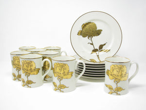 edgebrookhouse - Vintage 1970s Fitz and  Floyd Golden Rose Mugs & Plates Service for 8 - 16 Pieces