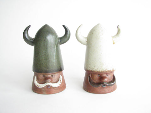 edgebrookhouse - Vintage Folk Art Pottery Viking Salt and Pepper Shakers - 2 Pieces