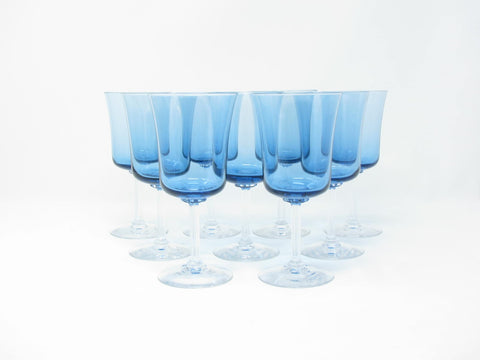 Vintage Fostoria Princess Blue Wine or Water Goblets - Set of 10