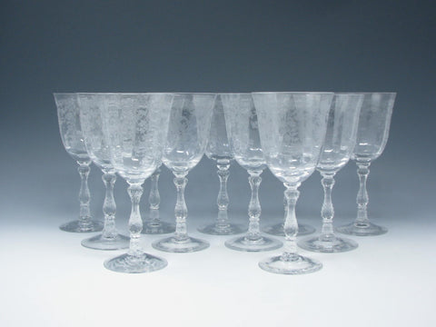 Vintage Fostoria & Lenox Navarre Clear Glass Wine Goblets with Etched Design - Set of 11