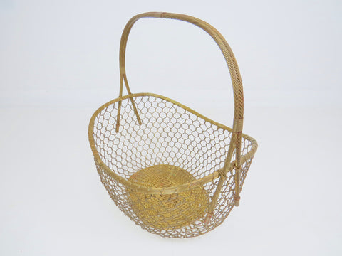 Vintage French Extra Large Woven Brass and Copper Basket