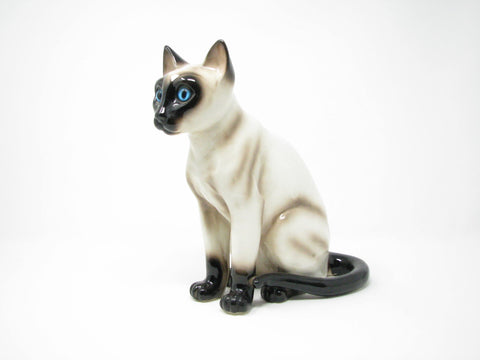 edgebrookhouse - Vintage Galle Style Ceramic Chocolate Point Siamese Cat with Bright Blue Glass Eyes Figurine