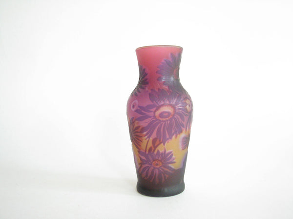 edgebrookhouse - Vintage Gallé TIP Cameo Relief Purple Amethyst Floral Glass Vase