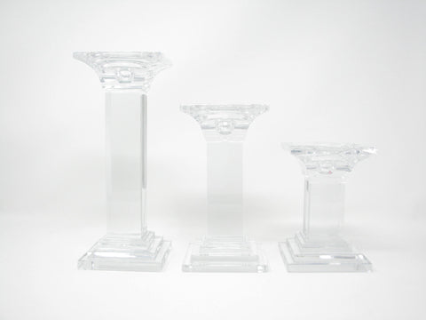 edgebrookhouse - Vintage Graduated Crystal Square Pedestal Pillar / Taper Candle Holders - Set of 3