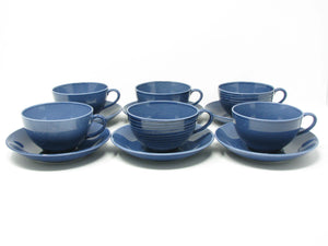 edgebrookhouse - Vintage Gustafsburg Sweden Blue Bone China Cups & Saucers - 6 Sets