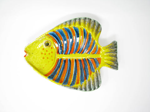 Vintage Hand-Painted Italian Pottery Fish Platter Plate Wall Décor