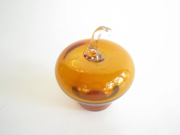 edgebrookhouse - Vintage Hand Blown Amber Art Glass Apple with Clear Stem