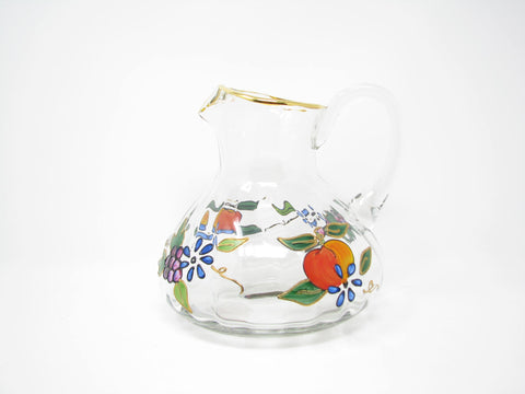 Vintage Hand Painted Glass Pitcher with Floral Design and Gold Details