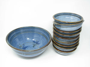Vintage Hand Thrown Studio Art Pottery Blue Glazed Bowls with Serving Bowl - 10 Pieces