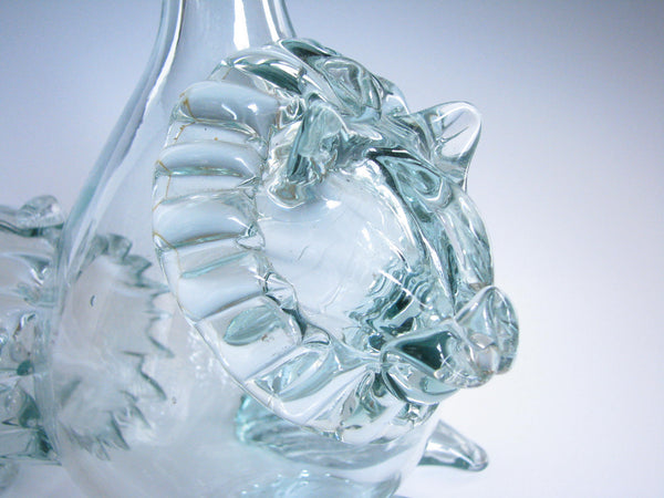 edgebrookhouse - Vintage Handblown Glass Art Lion Bottle or Bud Vase