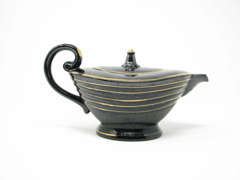 edgebrookhouse - Vintage Handcrafted Pottery Black Aladdin Style Teapot with Gold Details