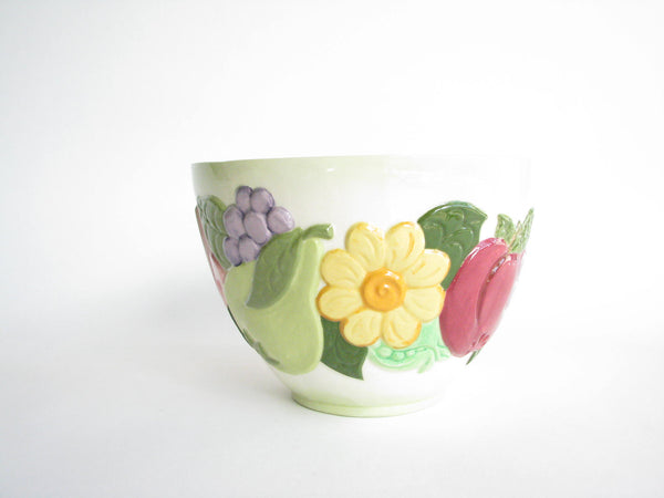 edgebrookhouse - Vintage Handmade Tall Ceramic Serving Bowl with Embossed Floral and Fruit Motif
