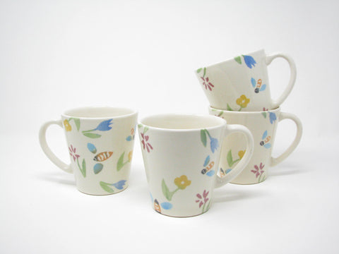 edgebrookhouse - Vintage Tre Ci Italian Ceramic Mugs with Bumble Bee & Floral Design - Set of 4