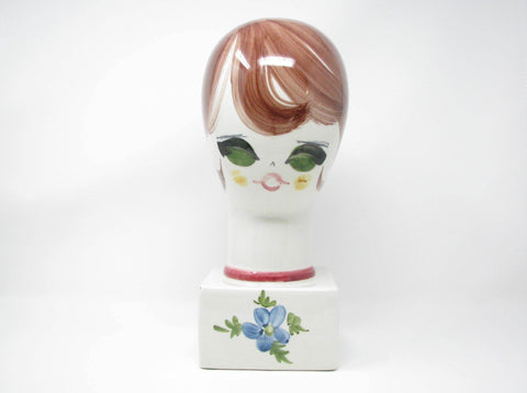 edgebrookhouse - Vintage Italian Ceramic Woman's Head Sculpture, Hat or Wig Stand