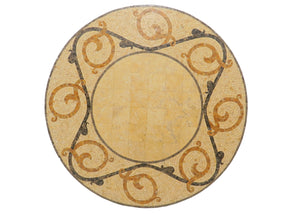Vintage Italian Giallo Sienna Marble and Stone Mosaic Solid Table Top