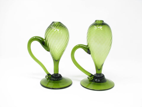 Vintage Italian Hand-Blown Green Glass Footed Bud Vases - a Pair
