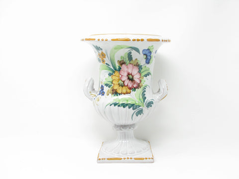 edgebrookhouse - Vintage Italian Hand-Painted Pottery Urn or Footed Planter Vase