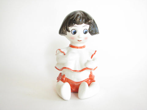 edgebrookhouse - Vintage Italian Pottery Little Girl Shaped Figural Piggy Bank