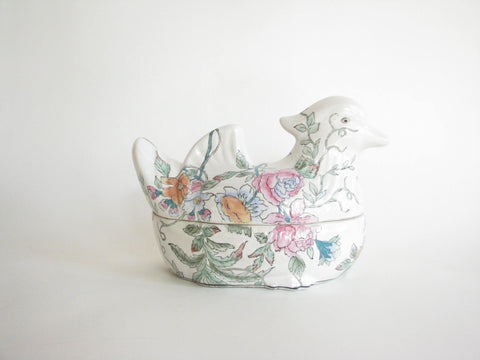 edgebrookhouse - Vintage Japanese Mallard Duck Porcelain Lidded Serving Dish or Tureen with Floral Design